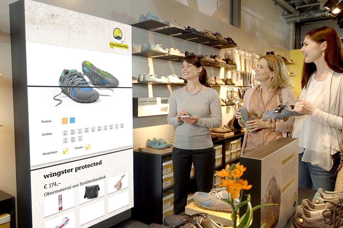 Verkaufsberatung mit Digital Signage und InStore Assistant bei Schuh Bär