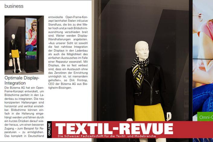 LCD Display Säule für Pressemeldung im Magazin Textil-Revue