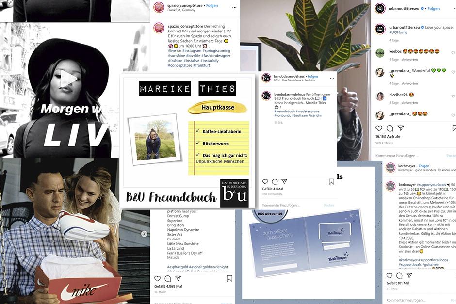 Collage von Social Media Posts von Unternehmen während des Corona-Lockdowns