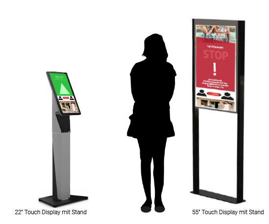 """Kundenampel: 2 Touch-Displays in 22"""" und 55"""" im Größenvergleich mit einer menschlichen Silhouette"""