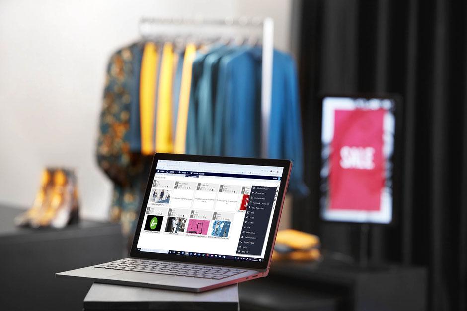Detailansicht soviaRetail Backstore mit Digital Counter Card im Hintergrund