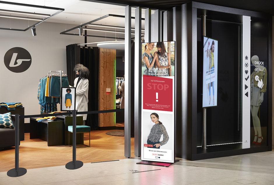 LED Poster mit Kundenampel-Anzeige und Werbung