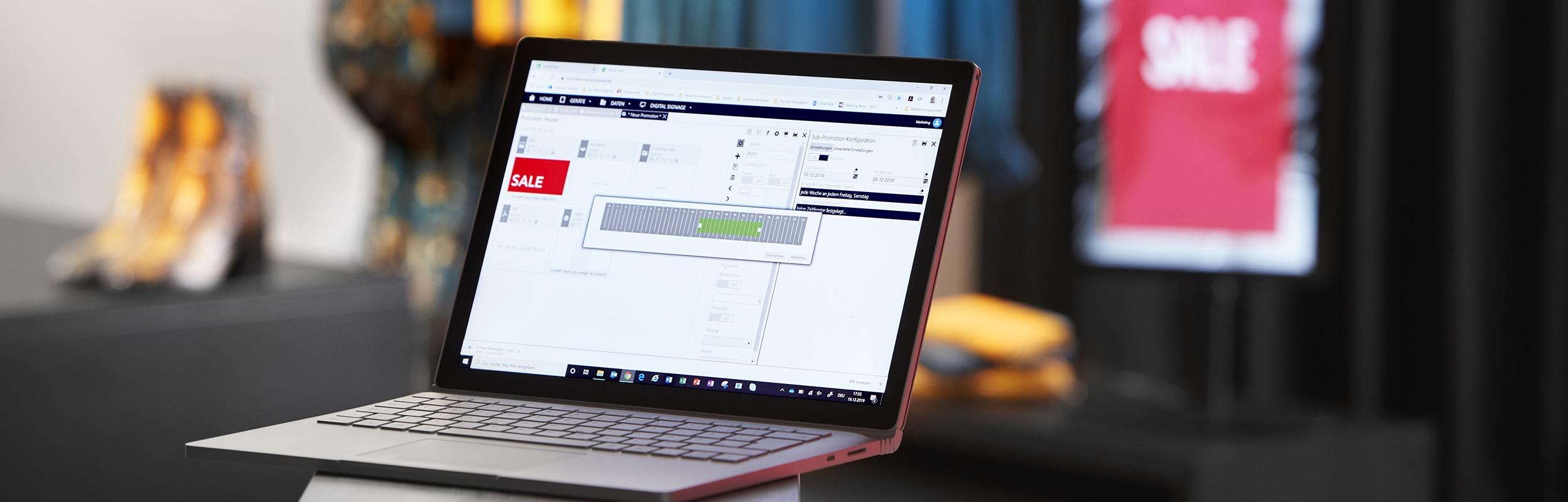 Detailansicht des soviaRetail Backstores mit Digital Counter Card im Hintergrund