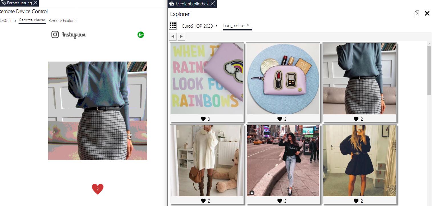 Screenshot des soviaRetail Backstores mit Instagram Integration