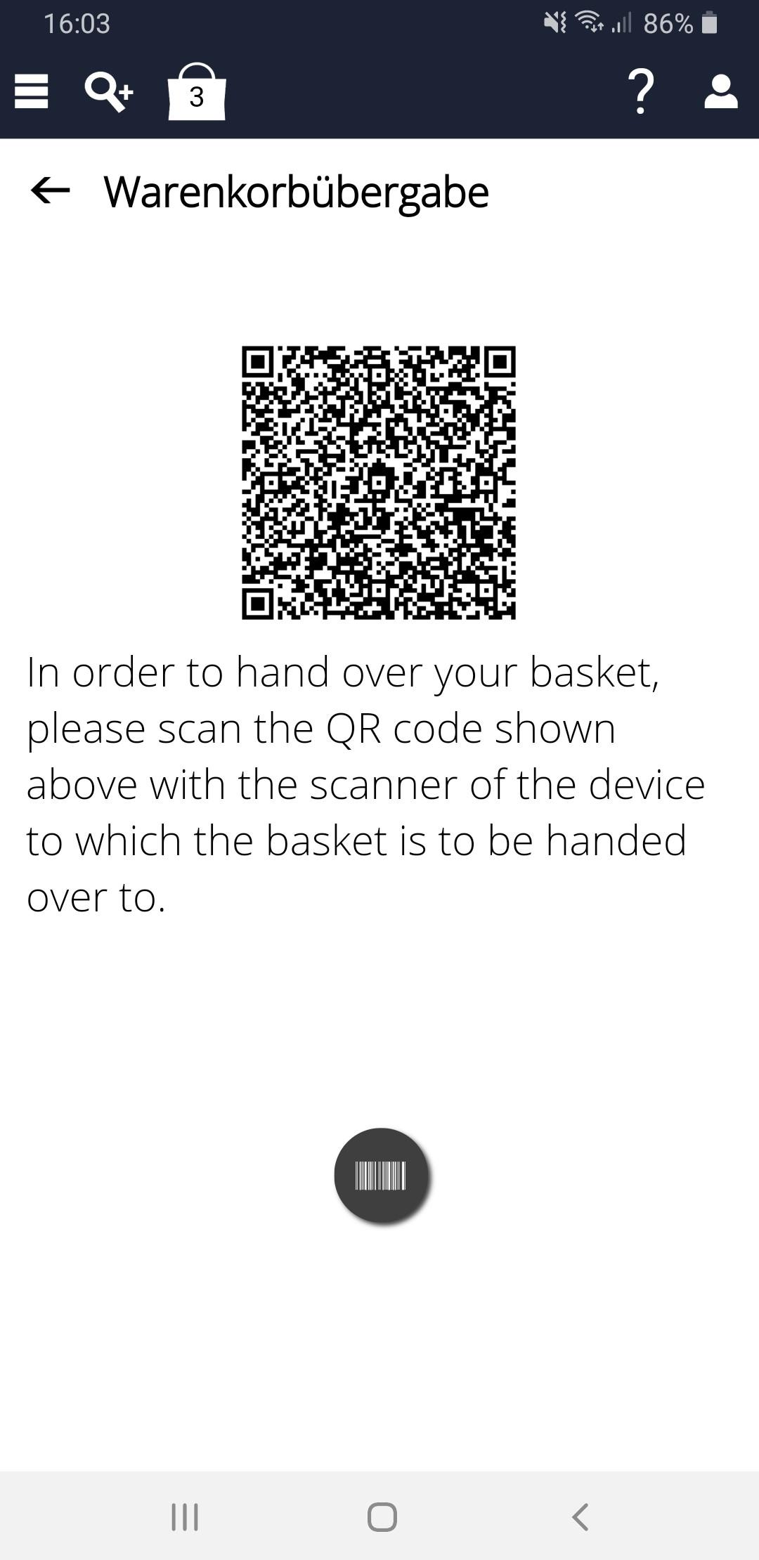 Screenshot des InstoreAssistants mit QR Code zur Warenkorbübergabe