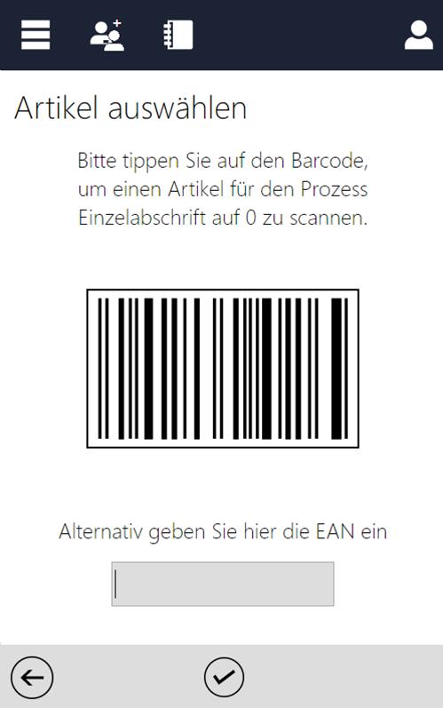 Screenshot des InstoreAssistants mit Barcode für Abschrift