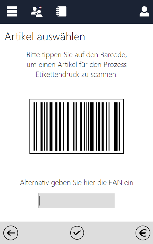 Screenshot des InstoreAssistants mit Barcode
