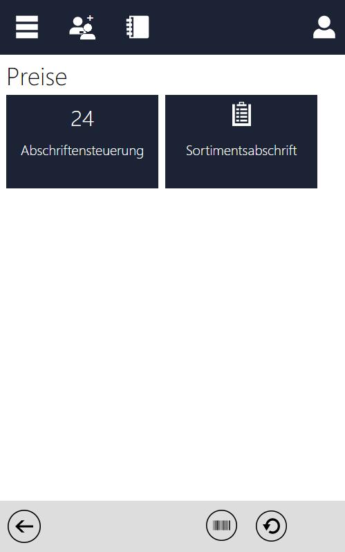 Screenshot des InstoreAssistants mit Übersicht Preise