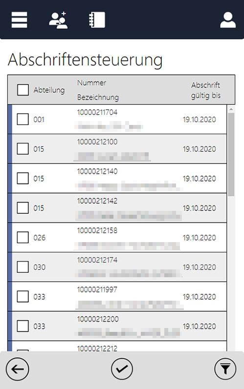 Screenshot des InstoreAssistants mit Details zur Abschriftensteuerung