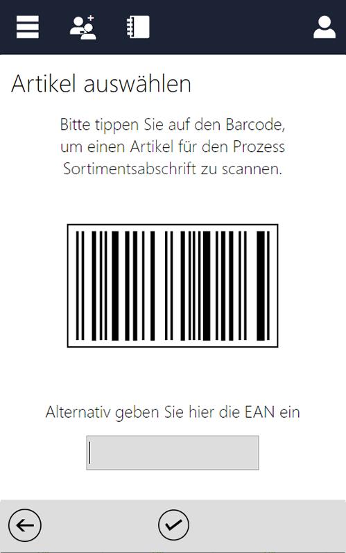 Screenshot des InstoreAssistants mit Barccode für Sortimentsabschrift