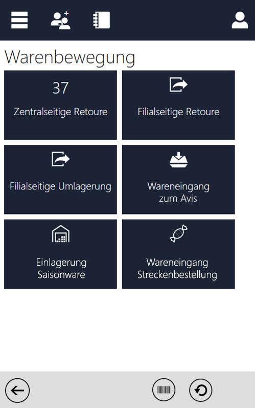 Screenshot zum MDE Prozess Warenbewegungen