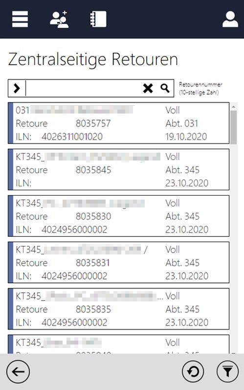 Screenshot des InstoreAssistants mit Übersicht Retoure