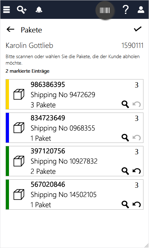 InStore Assistant Screenshot - Click & Collect Prozess