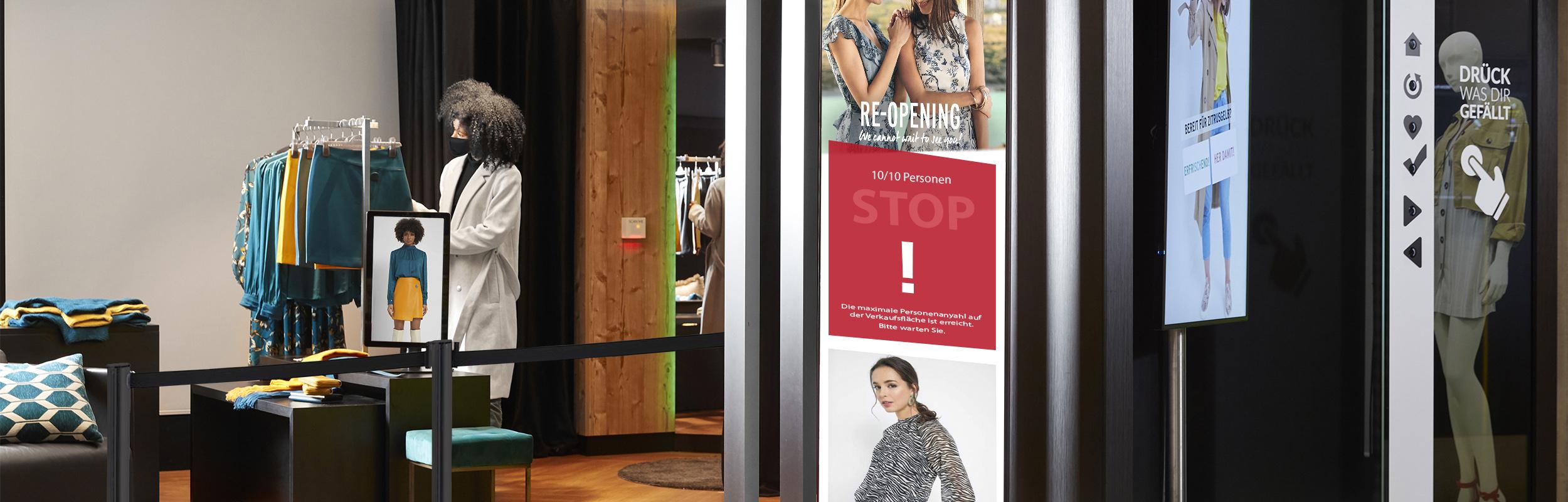 LED Poster mit Einlasskontrolle im Bütema AG Showroom München